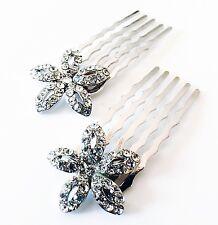 USA MINI Hair Comb Clip Hairpin use Swarovski Crystal Bridal Wedding silver 058