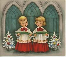 VINTAGE CHRISTMAS WHITE TREE CHOIR BOY GIRL SINGING CHURCH ISAIAH CARD ART PRINT