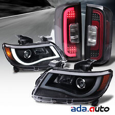 2015-2016 Chevy Colorado Projector Black Headlights+[LED] Black Tail Lamps Combo