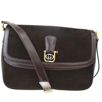 Authentic GUCCI GG Logos Shoulder Bag Suede Skin Leather Brown Gold 33MF364
