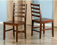 Set Of 2 Dining Chair Wood Ladder Back Traditional Kitchen Furniture Walnut NEW