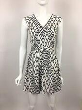 TBAGS LA Sleeveless V Neck Geometric Print A Line Mini Dress White S $215