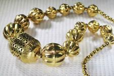 Vintage Polished Brass Necklace 1960s India Pierced Stamped Graduated Beads