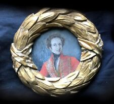 Late 18th Early 19th c FOLK ART SOLDIER Miniature Watercolor PORTRAIT PAINTING
