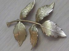Estate Costume Krementz Leaf Gold Tone Textured Pin with Care Booklet