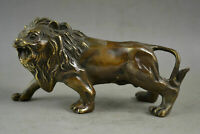 China Old Decorated Handwork Copper Carved A Fierce Lion Roar Elegant Statue