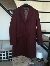 Très chic manteau femme  ,78% laine,  aubergine, cintré t S  quasi neuf