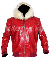 MENS RED CROCODILE HOODED FUR LEATHER JACKET - BEST QUALITY PRODUCT -