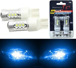 LED Light 80W 7440 Blue 10000K Two Bulbs Back Up Reverse Replace Plug Play