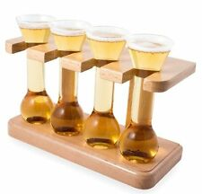 The Beerology 4 MINI YARD GLASSES on Wooden STAND Beer Cocktail Shot Glasses