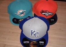 Denver Broncos Miami Dolphins KC Royals Fitted New Era 59Fifty Cap Hat 7 3/4 NWT