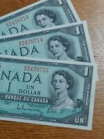 ➡➡3 CONSECUTIVE 1954 BC-37bi UNC $1 Note Bank of Canada S/N B/Z 2470713-15 MINT