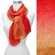 Lightweight Ombre Scarf Orange Silk Feel Fabric Pleated Wrap Fashion Accessory