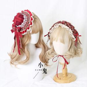 Red Plaid Lolita Lattice Hair Band Hair Clip Cute Side Clip Lace Bow Headband