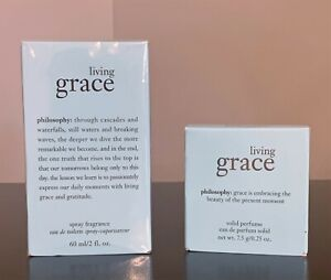 NIB Philosophy Living Grace Spray Fragrance, 2 Ounce + Purse Size Solid Perfume