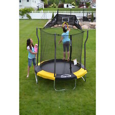 7' Enclosed Trampoline with Basketball Hoop Kids Toddler Indoor/Outdoor Play NEW
