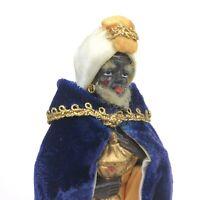 Vintage Christmas Nativity Manger King Figure Figurine JAPAN Velvet Clothes ODD