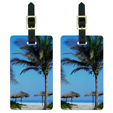 Tropical Beach Resort - Palm Tree Sand Luggage Suitcase ID Tags Set of 2