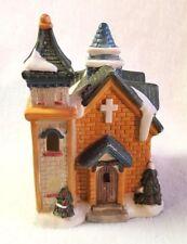 "Christmas Village House Church Building Ceramic Green Roof Brown Brick 5"""