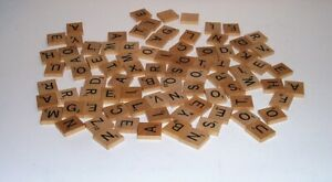 87 VINTAGE WOODEN SCRABBLE TILES - REPLACEMENTS/CRAFTS - 2 BLANKS