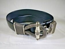 Cipriani Women Black Leather Silvertone Adjustable Rope Clasp Toggle Belt S/M