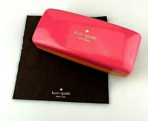 Kate Spade Sunglasses Case Pink Orange Faux Leather Clamshell Hardcase + Cloth