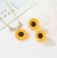 Sunflower Necklace Gold Chain Boho Fashion Yellow Friendship Womens Gift Girls