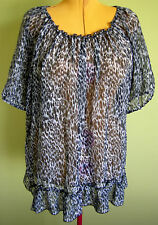 Ladies Womens Casual Animal Print Chiffon Peasant Blouse Shirt Top Millers Sze18