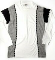 Victoria Secret Pink Gray White Black Colorblock Long Sleeve Shirt Size Small