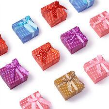 "12 Random Polka Dot Cardboard Mini Ring Boxes Jewelry Gift Packing Cases 2""x2"""
