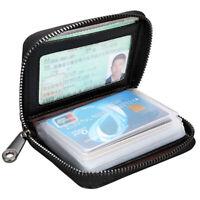 Black Women Men Wallet RFID Genuine Leather Multi-Function Card Holder Purse