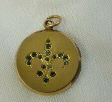 Antique S & B Lederer Co. Edwardian Fleur-de-Lis ~Paste Photo Locket Pendant