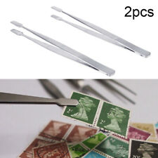 2pcs Stamp Tweezers Philately Stamps Collector Tools Tong-Straight Spade New