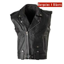 Motorcycle Black Leather Vest Brando Style Cowhide Size XXS - AUS SELLER