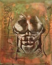 muskulatur bodybuilding männeroberkörper gemalt mit acryl auf leinwand kunst