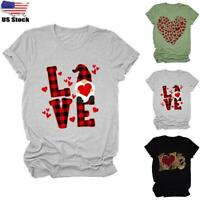 Womens Round Neck Tops T Shirts Ladies Letter Printed Valentine's Day Blouse Tee