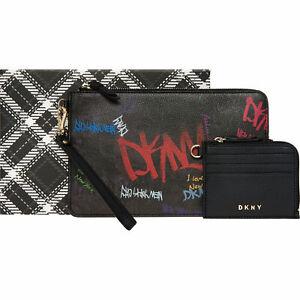 DKNY Black Graffiti Print Clutch Bag (Purse)& Coin Purse Set , rrp:£120