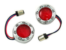 Chrome LED Turn Signal Bezel with Red Lens For Harley-Davidson