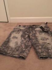 Black Premium Men's Destroyed Holes Denim Jean Shorts Sz 42 Clothes