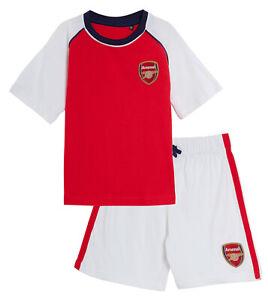 Kids Arsenal FC Short Pyjamas Boys Premiership Football Club Kit Shorts T-shirt