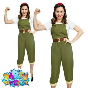 Adult Ladies 1940s Land Girl Costume WW2 Wartime Army Fancy Dress Womens Outfit