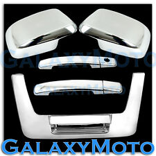 Chrome Mirror+2 Door Handle WO PSG Keyh+Tailgate Cover FOR 05-12 Nissan Frontier