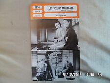 CARTE FICHE CINEMA 1950  LES SOEURS MUNAKATA Kinuyo Tanaka Hideko Takamine