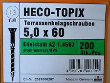 Heco Topix Terrassenschrauben 5,0 x 60 mm Edelstahl V2A 200 Stück