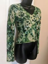 Custo Barcelona Cropped Angora Sweater Sz S Green Embroidered Floral Long Sleeve