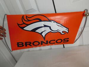 "2 handle Hand held DENVER BRONCO football ORANGE plastic BANNER Verizon 9.5""x28"""