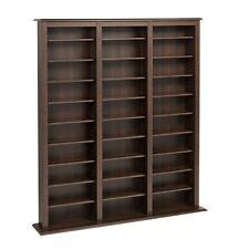 Media Storage Games Cabinet CD DVD BluRay Display Furniture Espresso Shelves