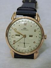 VINTAGE MOVADO 18K SOLID ROSE GOLD TRIPLE DATE FULL CALENDAR LARGE CASE 36mm