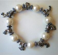 PEARL BEADED BRACELET WITH SILVER METAL ELEPHANT & MOON CHARMS HAND MADE