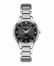 Ladies Seiko Solar Silver Stainless 12 Diamonds Black Dial Date Watch SUT317